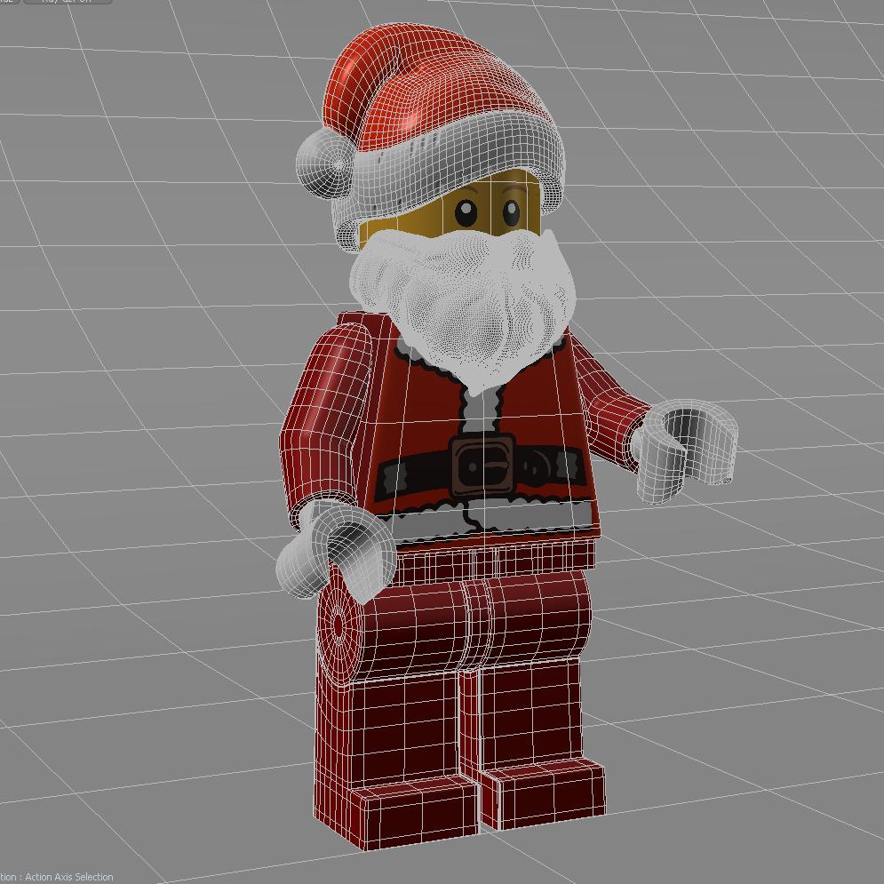 Santa Minifig wireframe